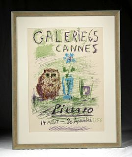 "Framed Picasso ""Gallerie 65 Cannes"" Lithograph - 1956"
