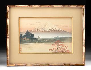 20th C. Japanese Kawatsura Yoshio Woodblock - Mt. Fuji