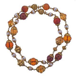 Seaman Schepps 18k Gold Citrine Pearl Amber Nesting Necklace Set
