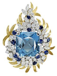 Raymond Yard Diamond & Gemstone Brooch