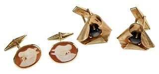 Two Pairs Gold Cufflinks