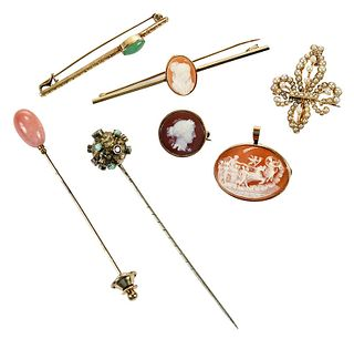 Seven Assorted Antique Brooches