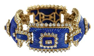 """Tiffany & Co."" 18kt. Lapis and Diamond Bracelet"