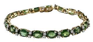 14kt. Diamond and Gemstone Bracelet