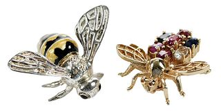Two Bee Brooches