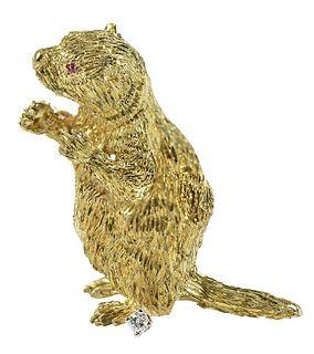 18kt. Otter Brooch