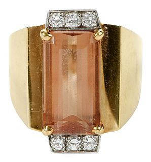 18kt., Platinum, Topaz, and Diamond Ring