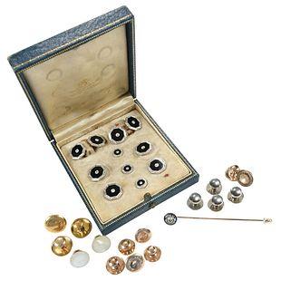 Platinum, 14kt., Diamond Dress Set & Stick Pin