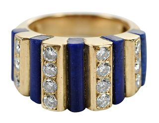 French 18kt. Lapis and Diamond Ring