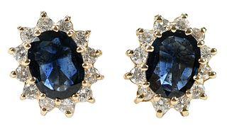 14kt. Sapphire and Diamond Earrings