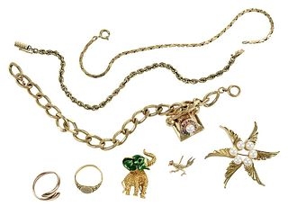 Eight Pieces Gold Jewelry