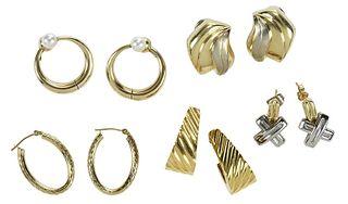 Five Pairs 14kt. Earrings