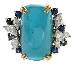 Platinum, 18kt. Diamond and Gemstone Ring