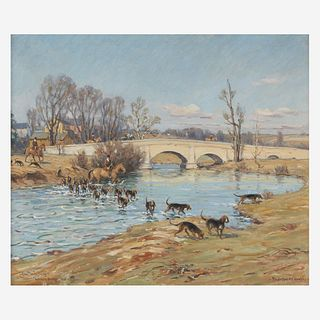 Charles Morris Young (American, 1869–1964) Mr. Jefford's Hounds Crossing the Octoraro (Andrew's Bridge)