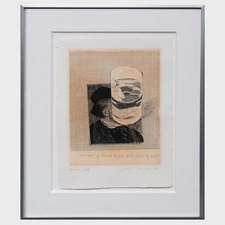 David Hockney (b. 1937): Postcard of Richard Wagner With a Glass of Water