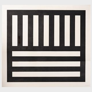 Sol Lewitt (1928-2007): Black Bands in Two Directions