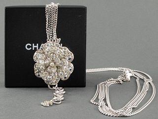 Chanel Silver-Tone Chain Belt w Crystal Camellia