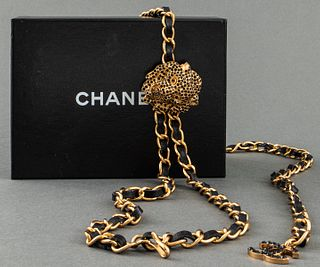 Chanel Gold-Tone Belt With Crystal Lion Motif