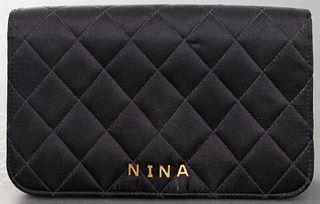 Chanel Custom 'Nina' Black Satin Clutch Handbag