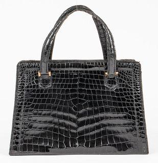 Hermes Vintage Black Crocodile Pullman Handbag