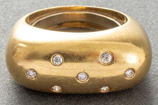 Vintage 18K Yellow Gold Oblong Domed Diamond Ring