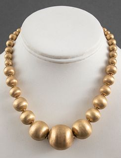 14K Yellow Gold Graduated Satin Ball Bead Necklace