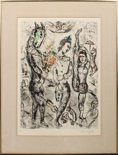 """Marc Chagall """"Le Pierrot"""" Etching In Colors"""