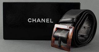 Chanel Black Leather Logo Belt
