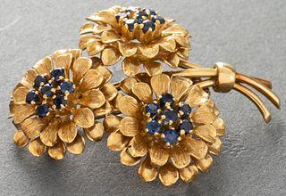 18K Yellow Gold Sapphire Three Flower Pin / Brooch