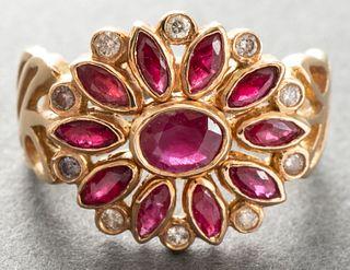 18K Yellow Gold Ruby & Diamond Floriform Ring