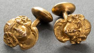 Art Nouveau 14K Gold Carved Muse Head Cufflinks