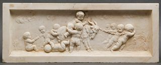 Antique Carved Marble Architectural Plaque