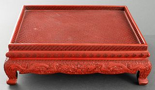 Chinese Cinnabar Lacquer Stand with Dragons