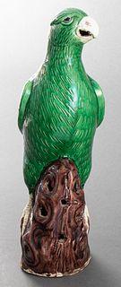 Chinese Export Green Porcelain Bird