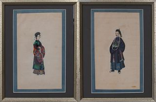 Chinese Export Portraits of Court Figures, Pair
