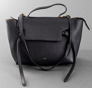 Celine Black Leather 'Belt' Handbag