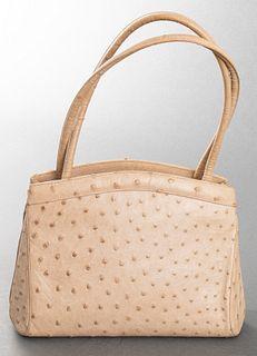 Judith Leiber Taupe Ostrich Handbag