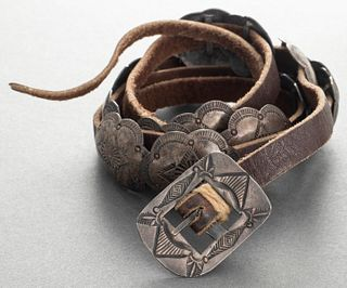 Navajo Native American Old Pawn Silver Concho Belt