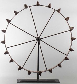Industrial Americana Folk Art Iron Wheel on Stand