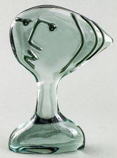 Modern Cubist Glass Bust Of A Woman