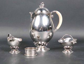 Georg Jensen Sterling Petite Blossom Tea Service