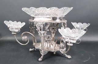 English Silver Plated and Cut Glass Epergne