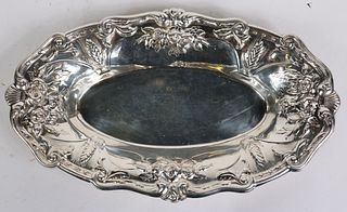 American Silver Repousse Oval Bread Tray