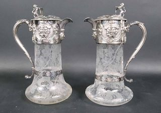 Pair of Victorian Silver and Glass Claret Jugs