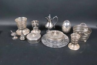 Four Sterling Silver Reticulated Vases and Basket
