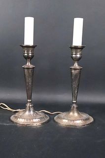 Pair of English Silver Plated Candlestick Lamps