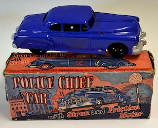 Louis Marx Toys Police Car with Siren and Friction Motor in original box some scuffing to box