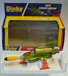 Dinky No.351 UFO Interceptor metallic green, orange legs, interior, yellow/black rocket - good clean