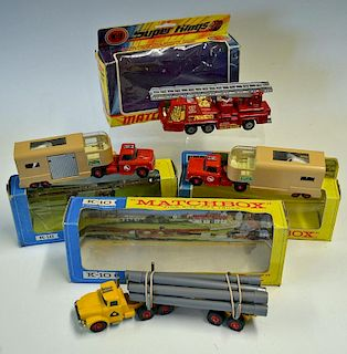 Selection of Matchbox Superkings K18 Articulated Horse Van x2 Box variations, K10 King Size Pipe Tru