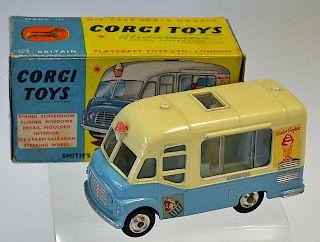 "Corgi No.428 Smiths Karrier Ice-cream Van ""Mister Softee"" - light blue, cream upper body, spun hubs"